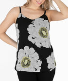 Strappy Button Trim Tank, Black/Yellow/Milkshake, hi-res