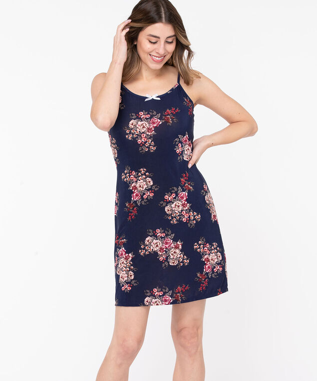 Strappy Floral Print Nightdress, Navy/Blush/Wine, hi-res