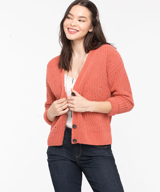 Button Front Chenille Cardigan, Dusty Cedar, hi-res