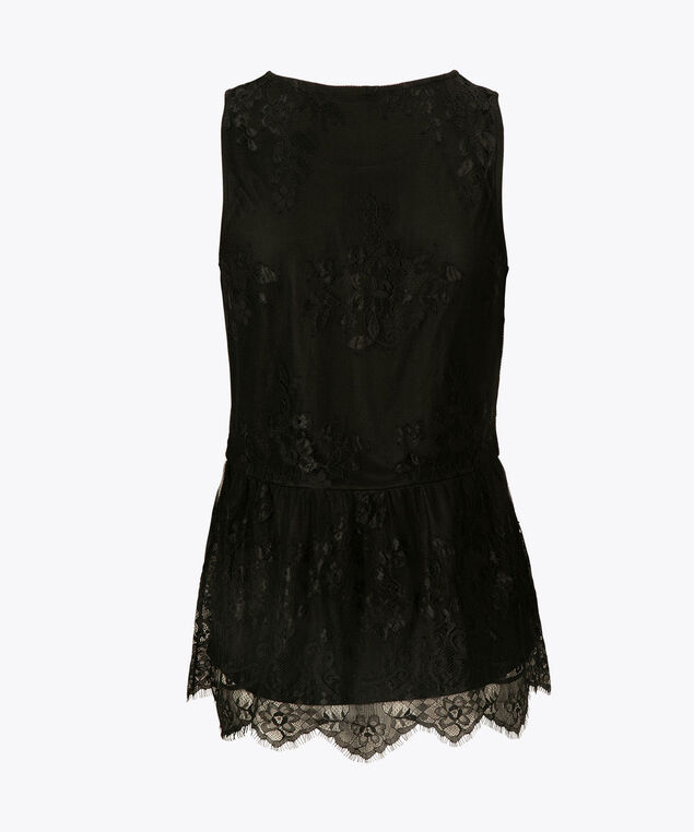 Sleeveless Lace Overlay Top, Black, hi-res