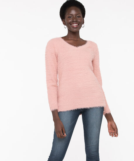 V-Neck Feather Yarn Pullover, Misty Rose, hi-res