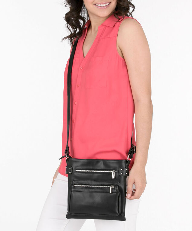 Studded Double Zip-Front Crossbody Bag, Black, hi-res