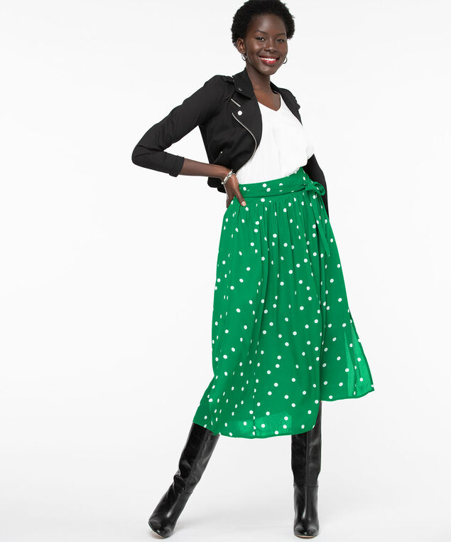 Green Polka Dot Midi Skirt, Green/Pearl Dot