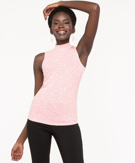 Sleeveless Mock Neck Ribbed Top, Blush, hi-res