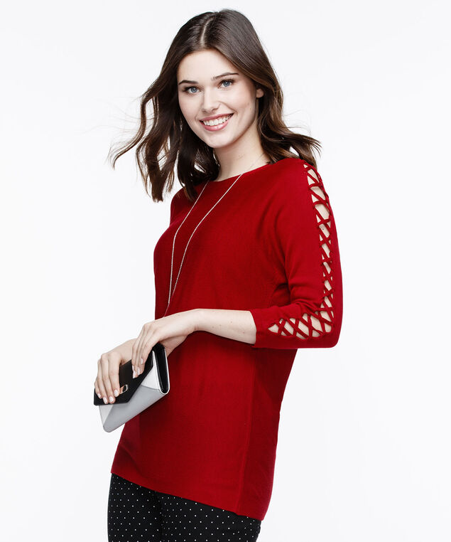 Lace-Up Sleeve Pullover Sweater, Poppy, hi-res