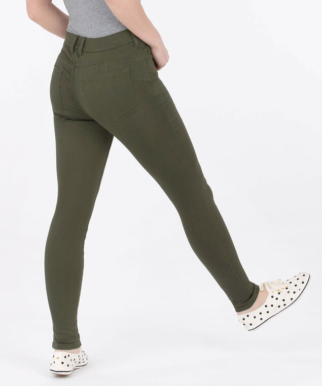 Fly Front Coloured Jegging, Autumn Olive, hi-res
