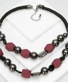 Matte Bead Statement Necklace, Wine, hi-res