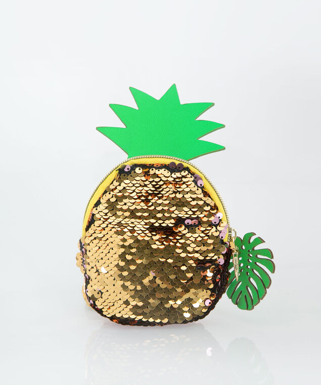 Sequin Pineapple Coin Purse, Yellow/Pink/Green, hi-res