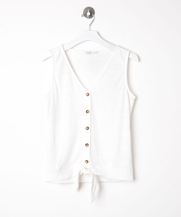 Sleeveless Tie Waist V-Neck Top, Pearl, hi-res