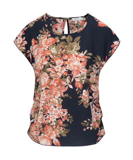 Extended Sleeve Side-Ruched Blouse, Navy/Coral, hi-res