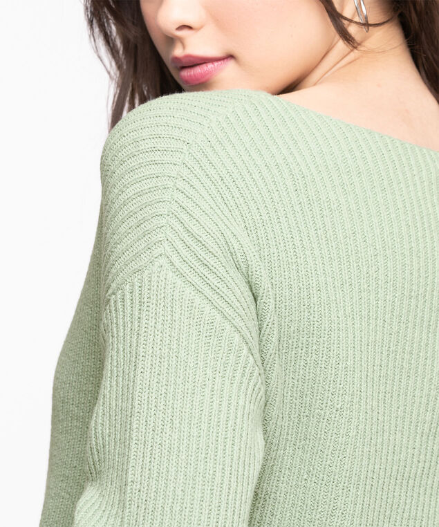 Ribbed Boat Neck Pullover Sweater, Frosty Green
