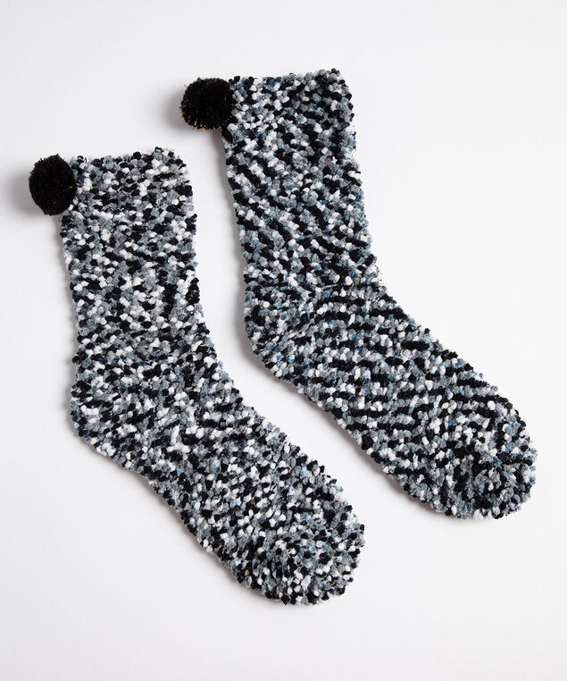 Plush Popcorn Pom Pom Socks, Black/Grey Mix