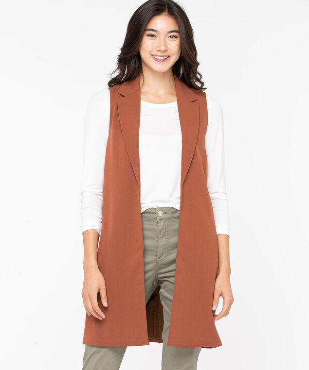 Notch Collar Longline Open Vest, Terra Cotta, hi-res