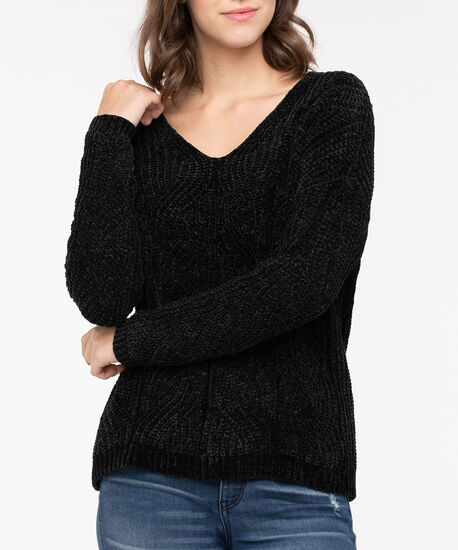 Pointelle Chenille Pullover Sweater, Black, hi-res