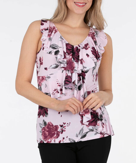 Sleeveless Ruffle Front Top, Cameo Pink/Black Cherry/Grey, hi-res