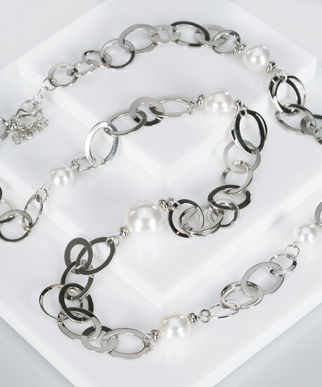 Pearl & Silver Ring Necklace, Rhodium/Pearl, hi-res