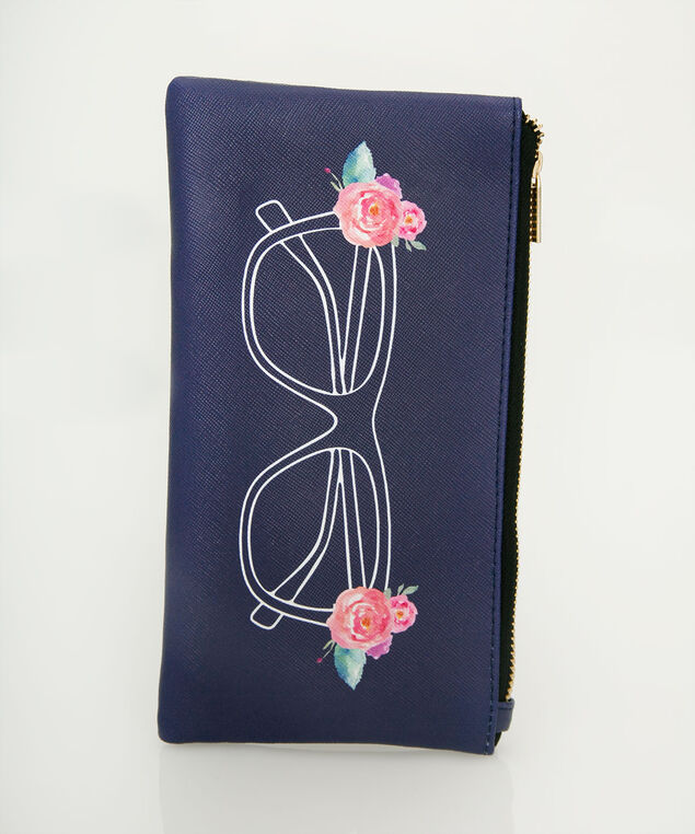 Sunglass Print Zip Sunglass Case, Navy/Pink/White, hi-res