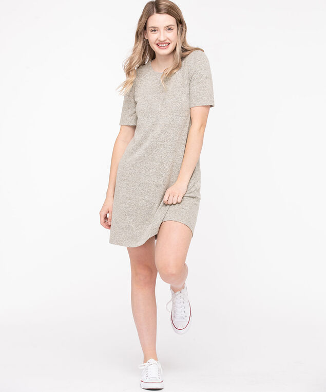 Lightweight Knit Short Sleeve Dress, Light Grey Mix, hi-res