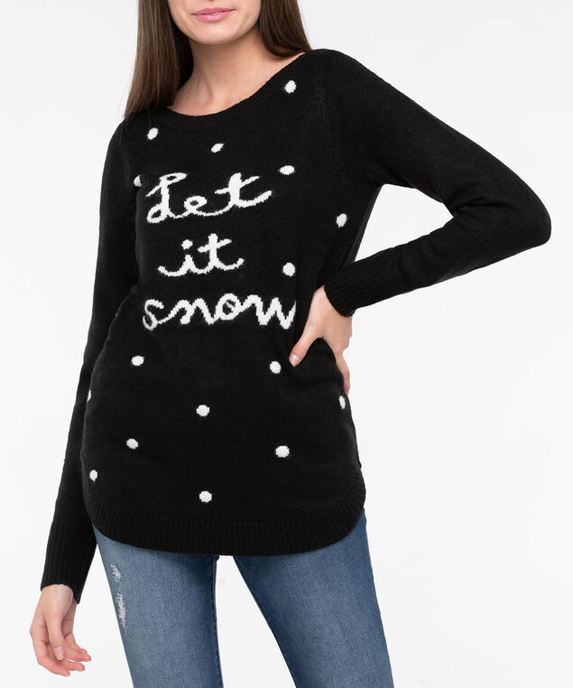 Let It Snow Boatneck Sweater, Black/Pearl, hi-res