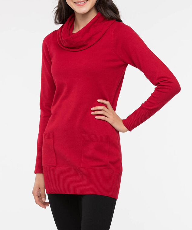 Cowl Neck Patch Pocket Tunic Sweater, Crimson, hi-res
