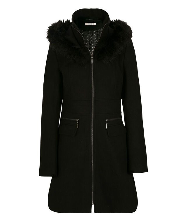 Faux-Fur Trim Hooded Coat, Black, hi-res