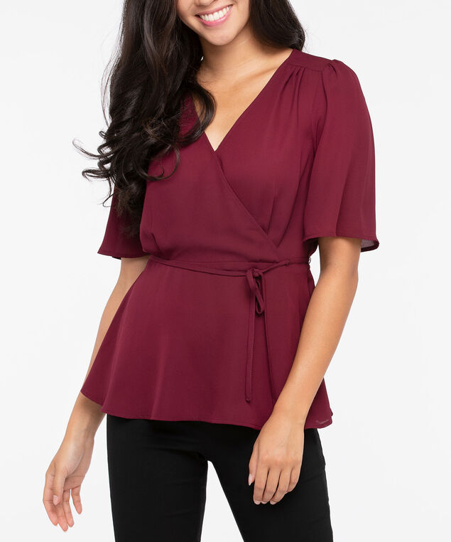 Short Sleeve Tie Waist Blouse, Burgundy, hi-res