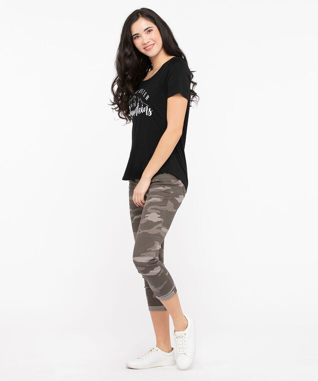 Mountain Girl Scoop Neck Tee, Black, hi-res