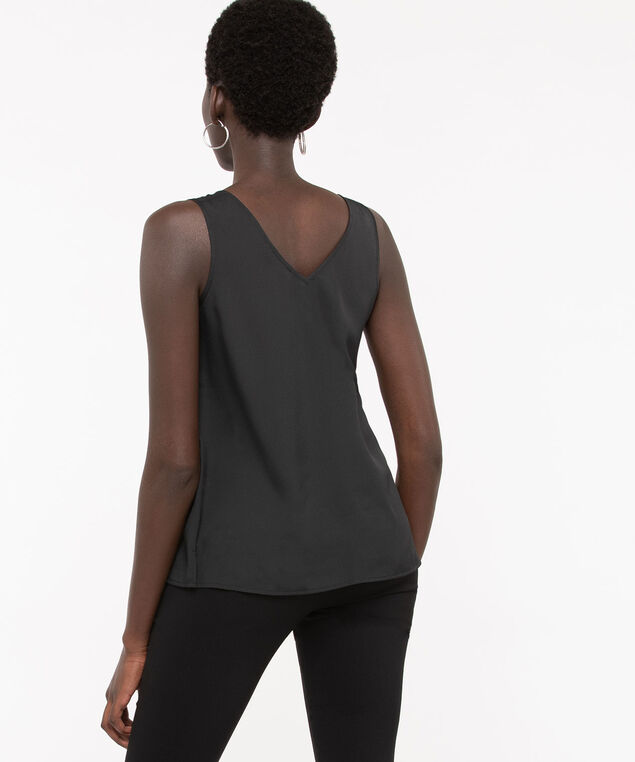 Double-V Woven Layering Cami, Black, hi-res