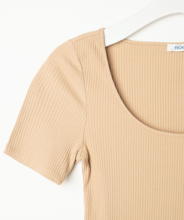 Short Sleeve Scoop Neck Top, Sand, hi-res