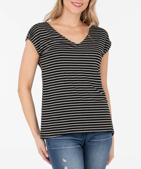 Lurex Stripe Extended Sleeve Top, Black/Gray/Gold, hi-res