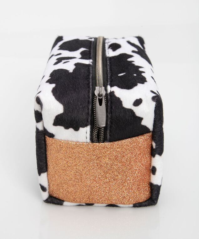 Cow Print Cosmetic Pouch, Black/Pearl, hi-res