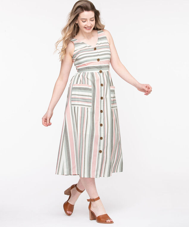 Striped Button Front Midi Dress, Linen/Blossom/Basil