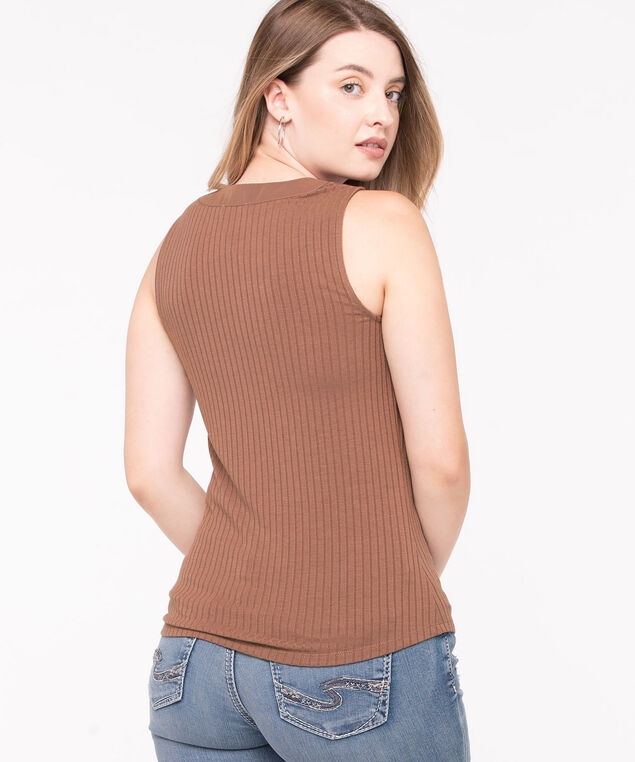 Sleeveless Button Ribbed Henley Top, Mocha, hi-res