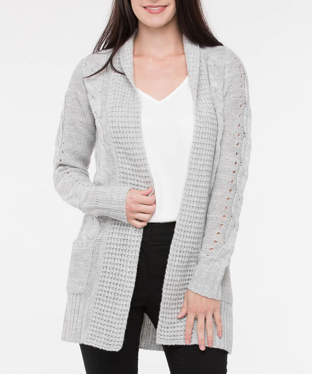 Pointelle Pocket Front Open Cardigan, Light Heather Grey, hi-res