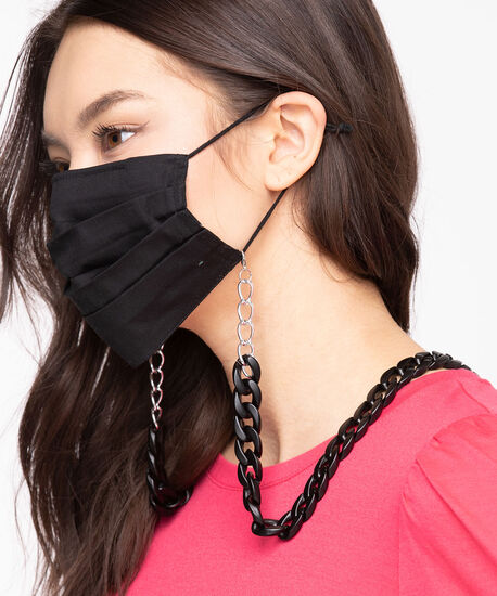 Large Matte Black Mask Chain, Black, hi-res