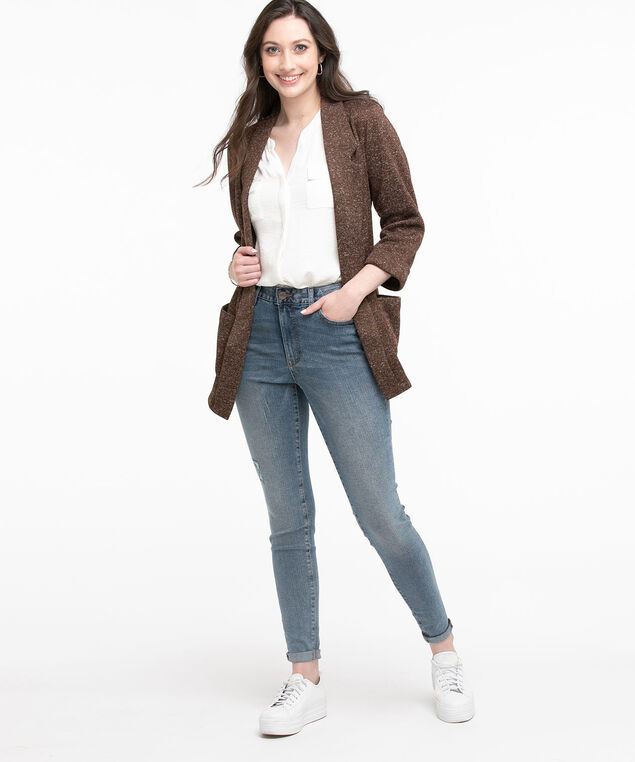 Open Front Knit Blazer, Seal Brown Mix