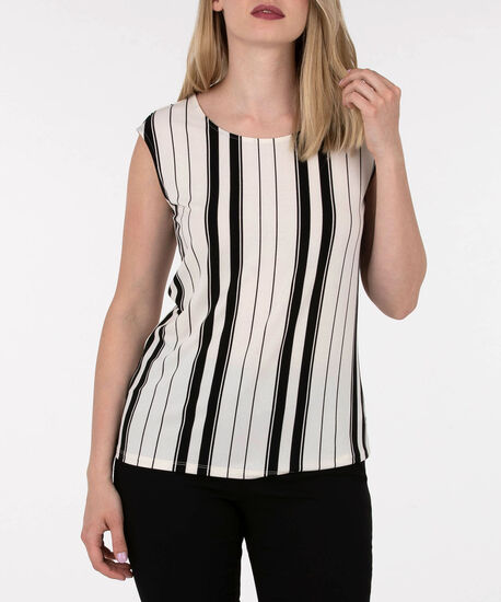 Vertical Striped Extended Sleeve Top, Pearl/Black, hi-res