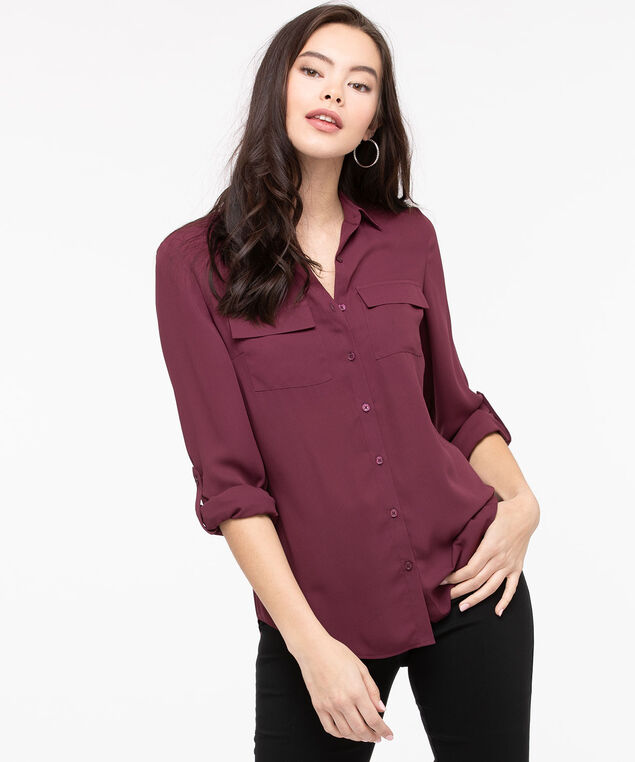 Button Front Collared Blouse, Fig, hi-res