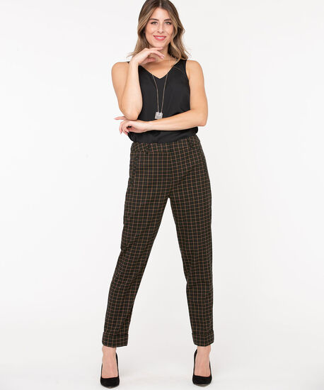 Plaid Slim Cuffed Ankle Pant, Navy/Green/Camel, hi-res