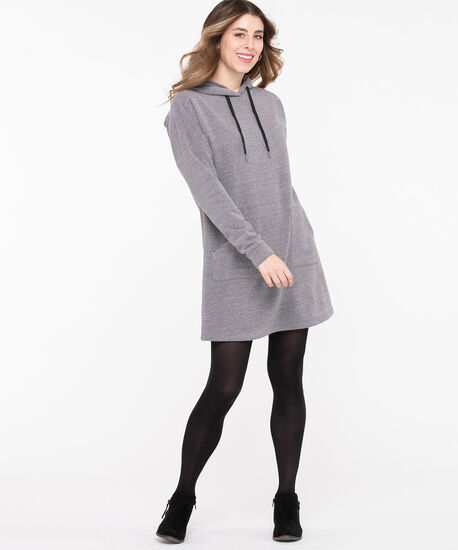 Hooded Sweatshirt Tunic Dress, Grey, hi-res