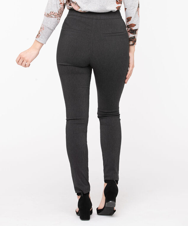 Microtwill Button Front Skinny Leg, Charcoal