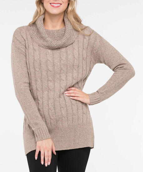 Cable Knit Cowl Neck Tunic Sweater, Camel Mix, hi-res