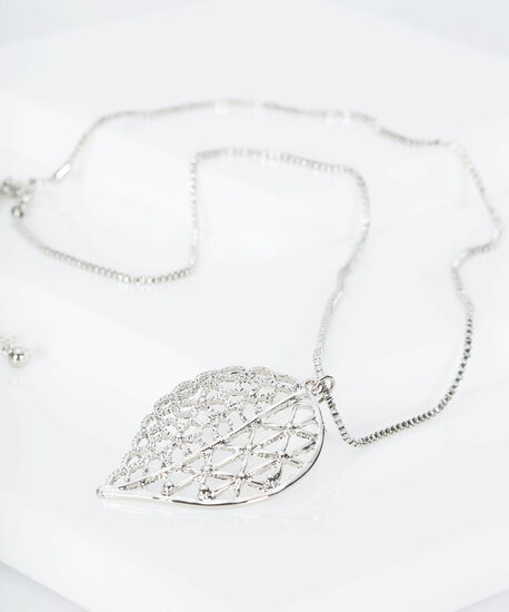 Filigree Floral Leaf Pendant Necklace, Rhodium, hi-res