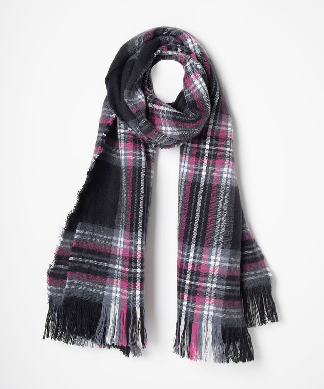 Plaid & Fringe Blanket Scarf, Black/Berry/Pearl, hi-res