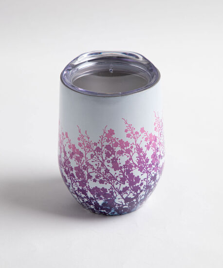 Patterned Insulated Wine Tumbler, Purple Floral, hi-res
