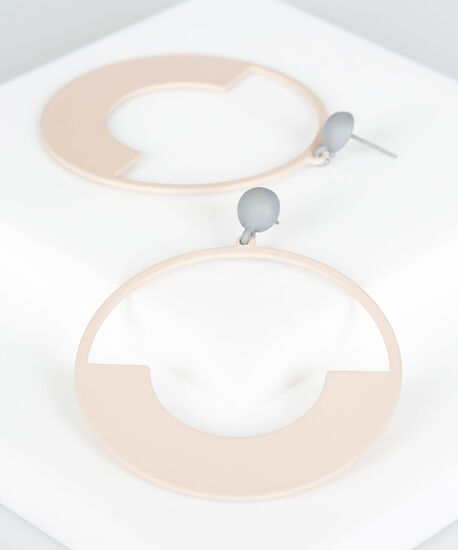 Matte Finish Painted Hoop Earring, Grey/Dusty Blush, hi-res