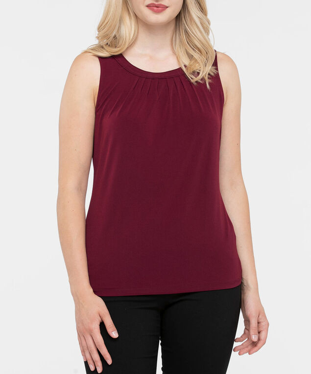 Sleeveless Pleat Neck Top, Burgundy, hi-res