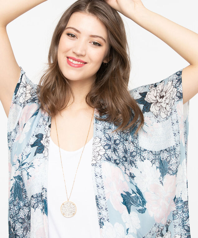 Floral Mixed Print Ruana, Stone Blue/Summer Navy/Rose Petal, hi-res
