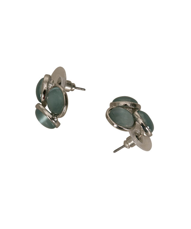 Cateye Stone Cluster Earring, Pastel Blue/Rhodium, hi-res
