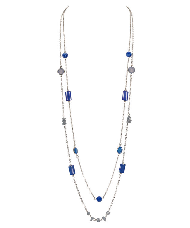 Stationed Bead & Stone Necklace, Blue/Pastel Blue/Rhodium, hi-res